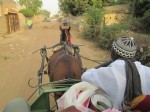 riding on a watir (horse-drawn cart)