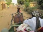 riding on a watir (horse-drawn cart)